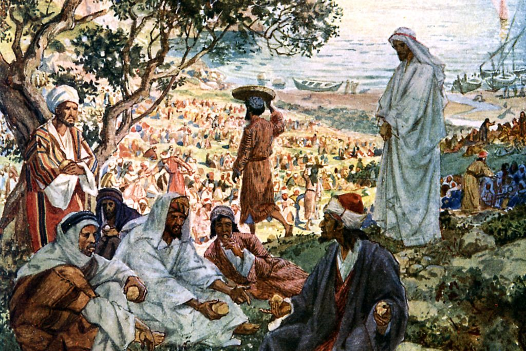 Painting of Jesus feeding the five thousand.